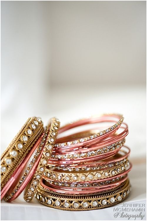 Indian bridal bangles. Love the peach and gold combination.