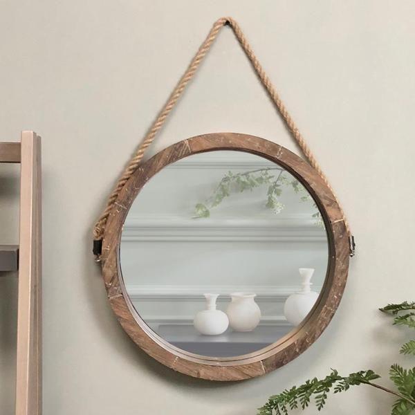 Rustic Round Hanging Rope Mirror Round Wooden Mirror Rope