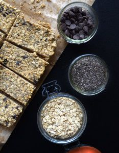 These delicious Chocolate Chip Chia Seed Granola Bars only require a few simple ingredients and can be mixed together in one bowl, no baking required!