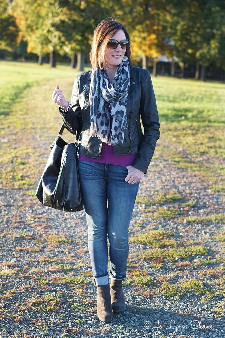 Winter Outfit: Moto Jacket + Leopard Scarf #FashionFriday