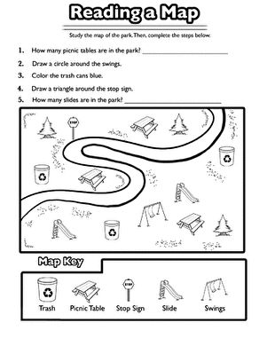 Reading a Map | Social studies worksheets, Kindergarten ...