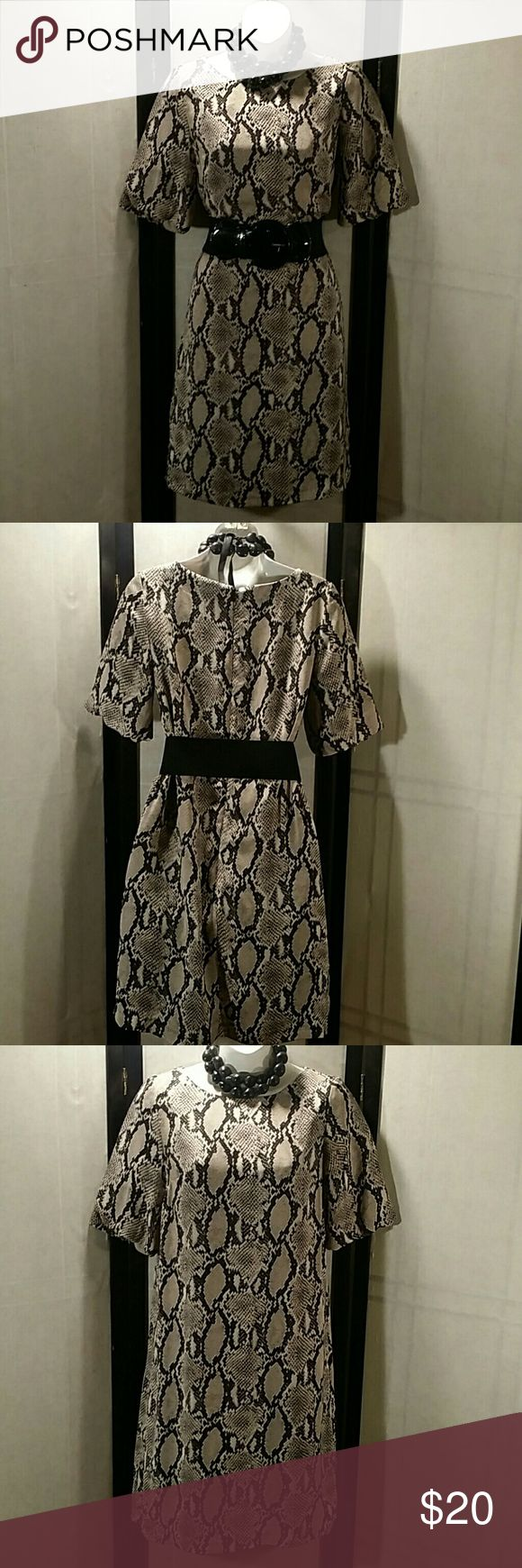 NWOT * Tunic Dress * Petite Beautiful * Black Multicolor * Animal Print *  Above Knee * 3/4 Sleeve * Belt and Necklace Not Included * Polyester * Bundle and Save * Focus 2000 Dresses