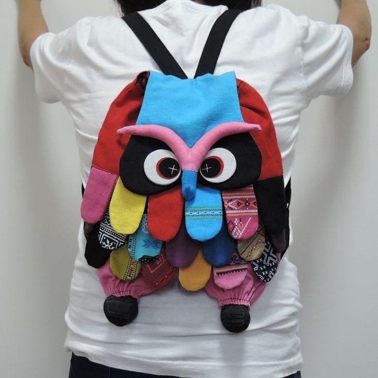 Backpack Bags Adorable Big Owl Patchwork Handmade Handbag Purses Teen Hippie…