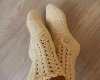 Handknit socks knit socks women cable knit socks wool socks