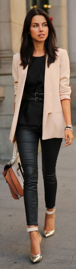 #Blush N' #Black by Vivaluxury black leather are waxed pant black top blush blazer nice idea