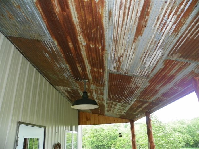 Rusty Tin Ceiling On Porch.