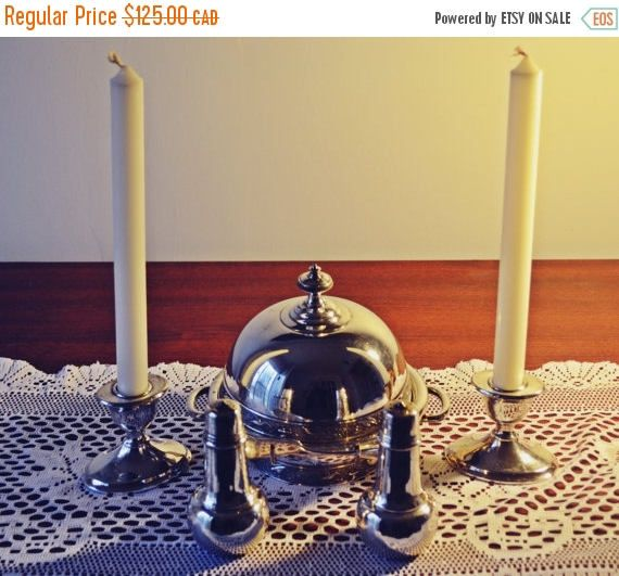 On Sale Antique Silver Plate Butter Dish Candle Holders Salt