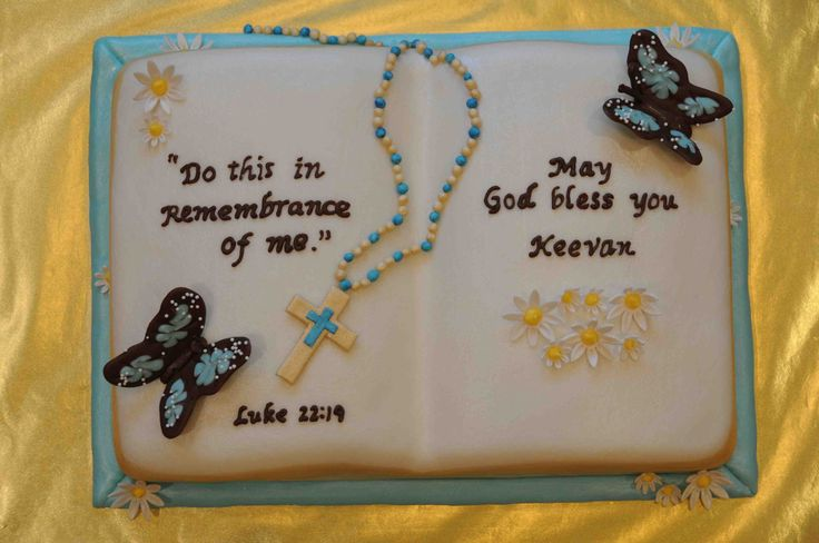 Keevan's 1st Holy Communion Cake - First open book cake.  Use a Wilton book pan.  Rosary and flowers made of gumpaste.  Butterflies made of candy melts.