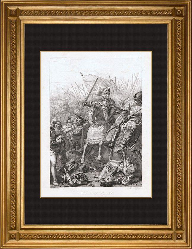 Bataille d'Agnadel, gravure en taille douce sur acier dessinée par Jolivet, gravée par Fontaine, 1846.- Les Vénitiens engagent alors l'action et se heurtent à l'avant garde française. Chaumont-d'Amboise répond par une charge de cavalerie, puis fait monter les piqueurs Suisses à l'assaut, mais ses troupes son ralenties dans l'ascension de  la colline par le franchissement d'un fossé de drainage et par la pluie. Dans ces conditions les forces vénitiennes soutiennent le 1° choc.