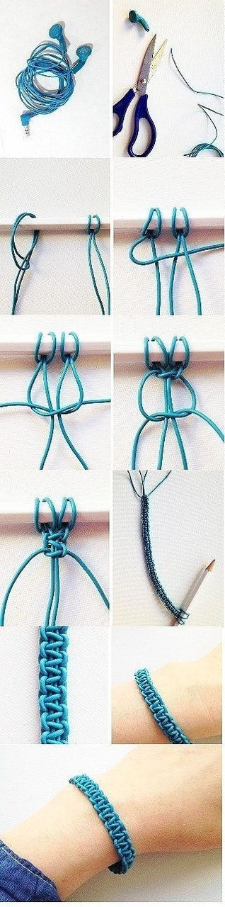 Headphone cord bracelet preparation | Headphones | Pinterest