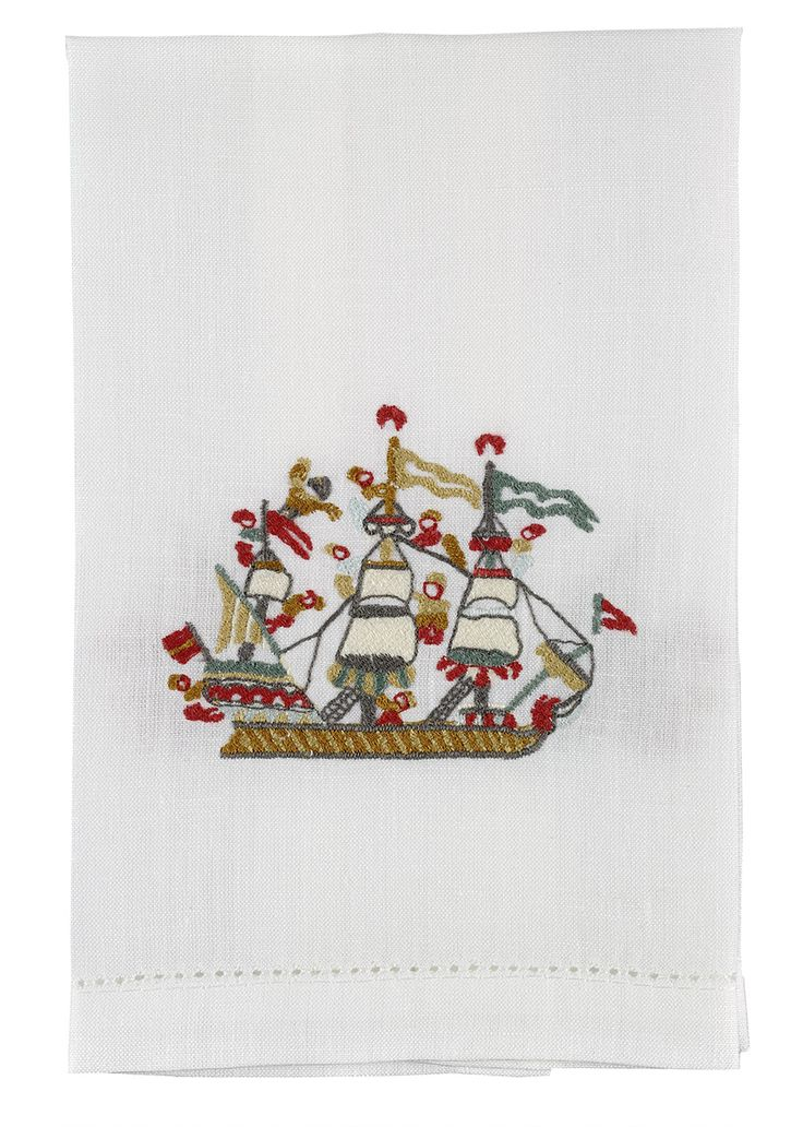 Guest towel with embroidered motifs - Motifs by the Benaki Museum's embroidery collections.      Embroidery on linen     Dimensions: 51x36 cm