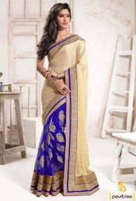 Blue Cream Net Party Wear Saree for Indian Festival