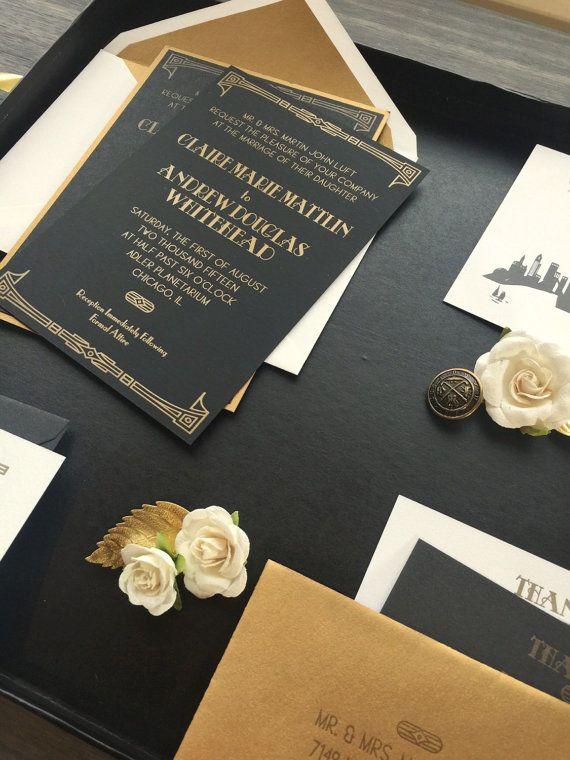 great gatsby wedding invitation letterpress by violetpressandpaper - Great Gatsby Wedding Invitations