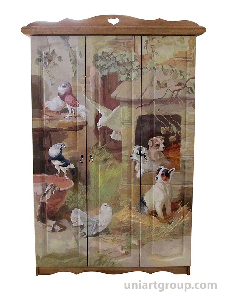 Роспись мебели, роспись шкафа, шкаф с росписью, шкаф из массива, декор шкафа, живопись на мебели, декор мебели, художественная роспись мебели, мебель из массива, роспись по дереву