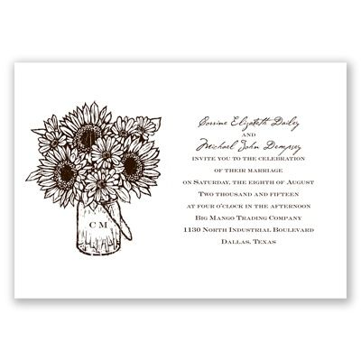 LOVE the sunflowers. would be great if that stays my main flower. get it in blue print (Sunflower Jar - Marine - Invitation)