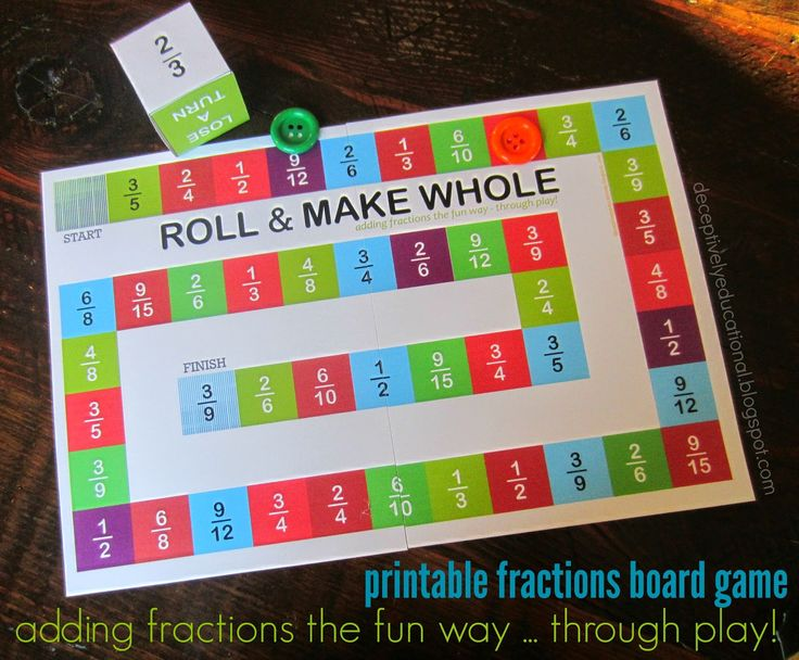 "Roll and Make Whole (Adding Fractions Board Game). You have students all begin from the ""start"" square. Each student will then take a turn and roll the dice to see what fraction they get. For example, if a student rolls on 2/3, that student must find the first fraction that is either 2/3 or is equivalent to 2/3 beginning from start and move to that fraction. The game then moves on to the next student until someone reaches the ""finish"" square."