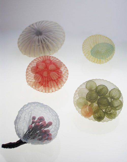 Ornamental objects by Mariko Kusumoto. Heat-formed polyester.
