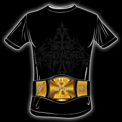 """Shawn Michaels """"ShowStopper"""" """"MR. HOF"""" Championship Belt T-Shirts. Black with Championship Belt Logo on the front and """"ShowStopper on the back."""