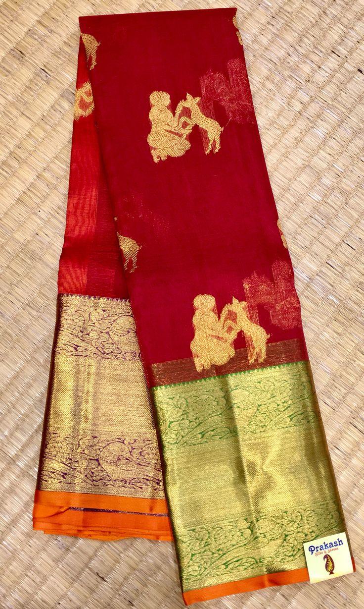 Organza saree with Ganga jumuna ( two Colours ) border from prakashsilks.
