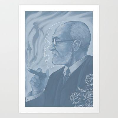 Sigmund Freud - Eros & Thanatos Art Print by herospy - $16.00