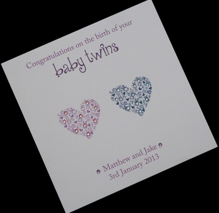 Handmade Personalised Sparkly Hearts New Twin Babies Card (Boy and Girl) in Crafts, Cardmaking & Scrapbooking, Hand-Made Cards   eBay
