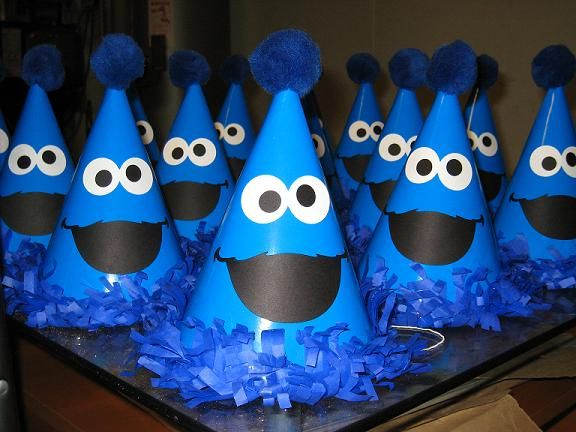cookie monster party hats  #cookie+monster, #birthday, #children my attempt to make yay