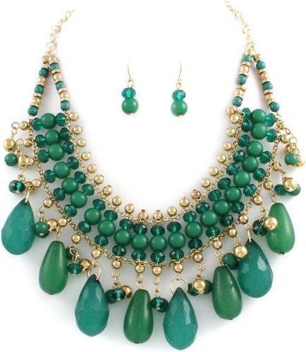 Green Gold teardrop Bib necklace set Bold Chunky Sophia Maria Jewelry