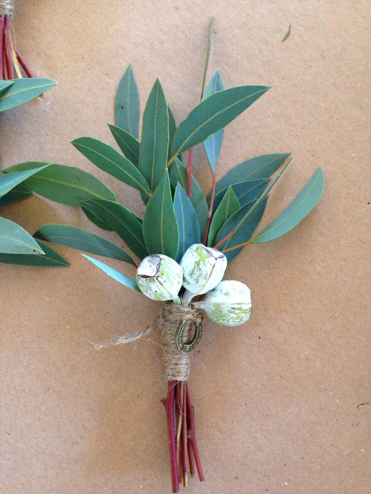 Gum leaf Grooms buttonhole by Flowermepretty.com.au