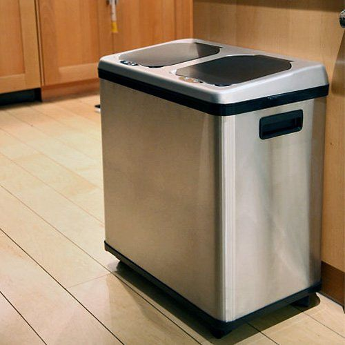 iTouchless 2 Compartment Recycle Touchless Trashcan 16 gal. Stainless Steel Recycling Bin - Additional Features Lids open automatically when debris is within 5-inches of sensor Lids close automatically after 3 seconds Open and close buttons f...