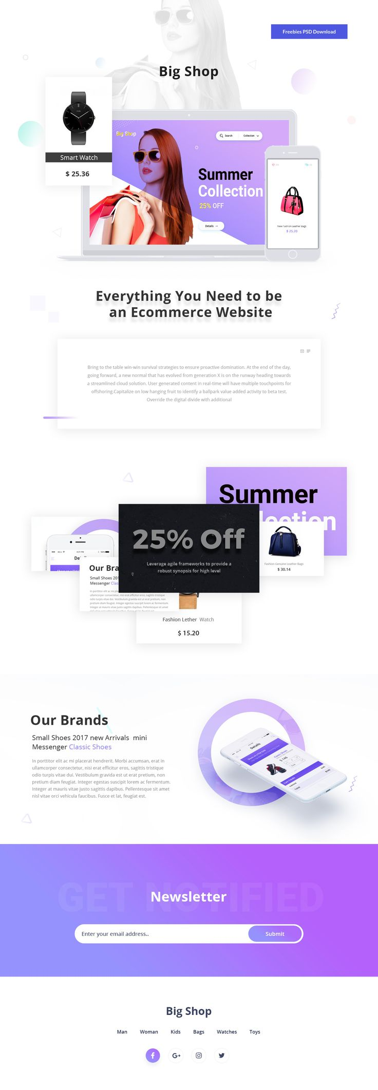 Shopping Landing Page Template Free PSD