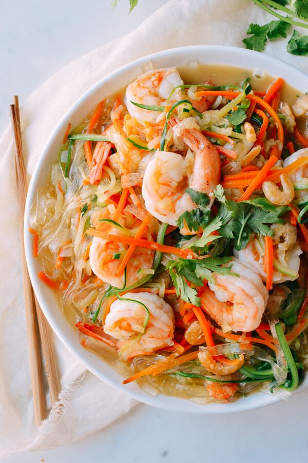 This easy dish of vegetable noodles with shrimp is a light, delicious meal of zucchini noodles, carrot noodles, and glass noodles simmered in chicken stock