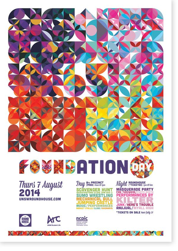 Poster design for Foundation Day 2014 at UNSW, Sydney.