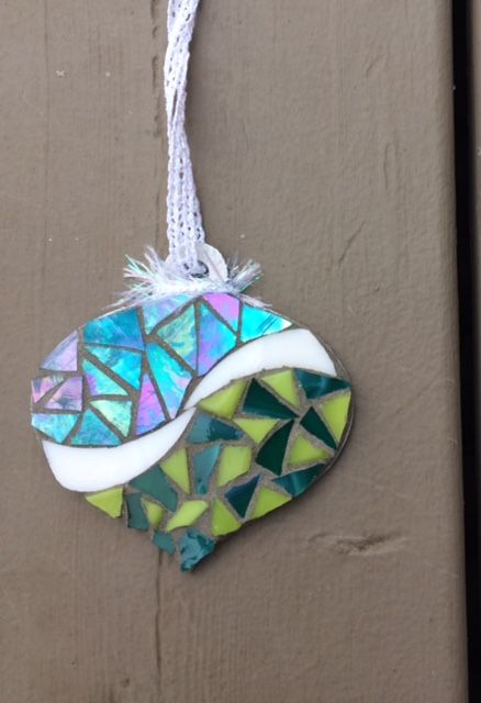 Greens & blue mosaic ornament - Glass Needle Works