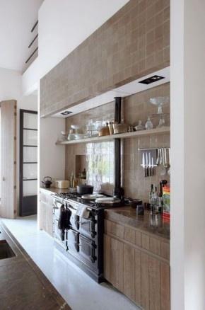 kleine keuken idee  aardetinten