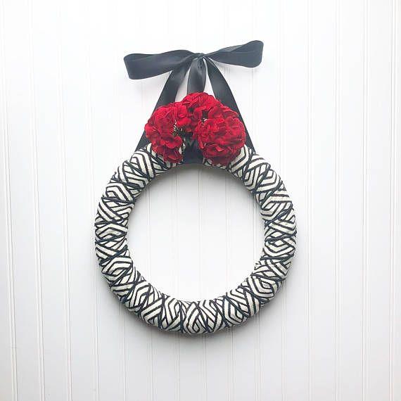 Love Wreath, Valentine's Day Wreath, Black and White Wreath, Farmhouse Wreath, Red Flower Wreath, Ribbon Wreath, Zebra Wreath, Modern Decor