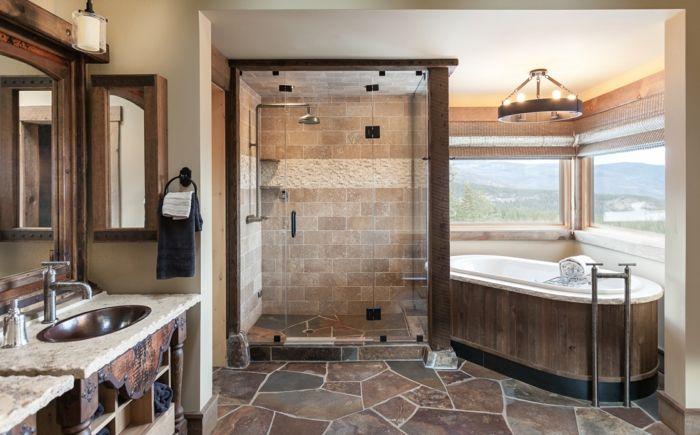 baño rustico con vista, azulejos en el suelo y las paredes y muebles - lavabos rusticos