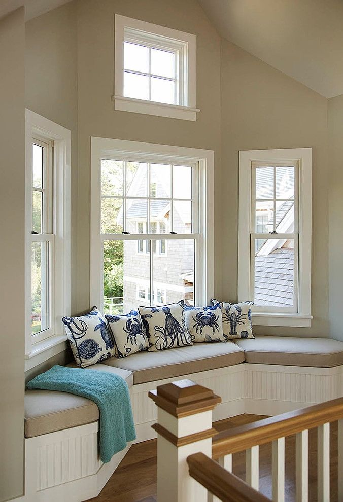 Window seat in Falmouth Residence by Martha's Vineyard Interior Design