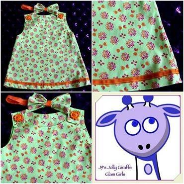Handmade by J9s Jolly Giraffe Glam Girls Just the thing for spring or summer – this colourful pinnie will fit 6-9 months old.