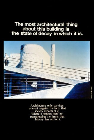 Advertisements for Architecture, 1976-1977 by Bernard Tschumi Architects. A series of postcard-sized juxtapositions of words and images. Each was a manifesto of sorts, confronting the dissociation between the immediacy of spatial experience and the analytical definition of theoretical concepts.    F'n brilliant.