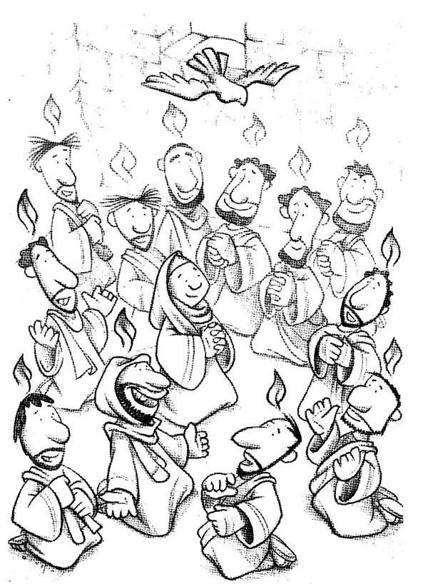 acts 21 42 the holy spirit came holy spirit coloring page