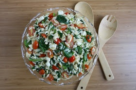 Orzo Salad with Spinach, Tomato, Feta | Orzo Salad, Orzo and Feta