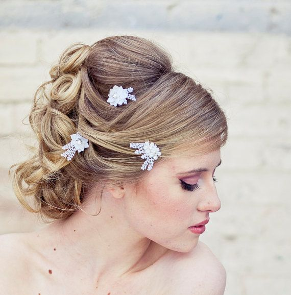 Wedding hair accessories lace daisy bobby pin by BeSomethingNew, $30.00