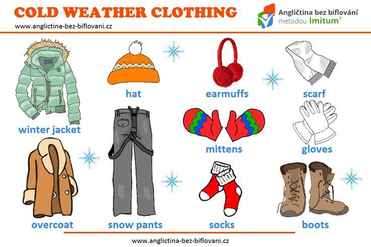 Jaké oblečení nosíte v těchto mrazivých zimních dnech? ❄ Dnešní grafika vám představuje několik tematických anglických slovíček. ⛄ 🌨 #vocabulary #winter #clothing