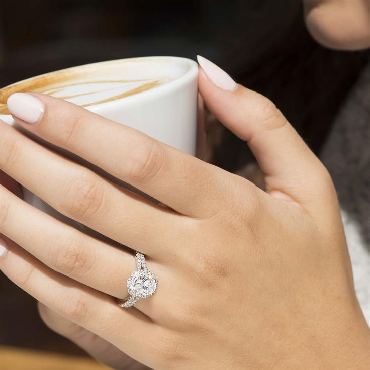 #NationalCappuccinoDay and a #ScottKay diamond ring; the ingredients for one beautiful day.  #SkatellsGreenville #SkatellHer  Style number: 31-SK5612