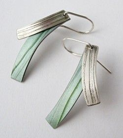 Grey, Green and Silver Drop Earrings. Penny Warren