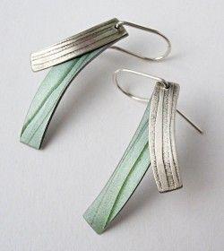 Grey, Green and Anodised Aluminum Drop Earrings