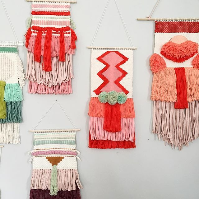 Woven wall hangings by Rachel Denbow of Smile and Wave. www.smileandwave.typepad.com