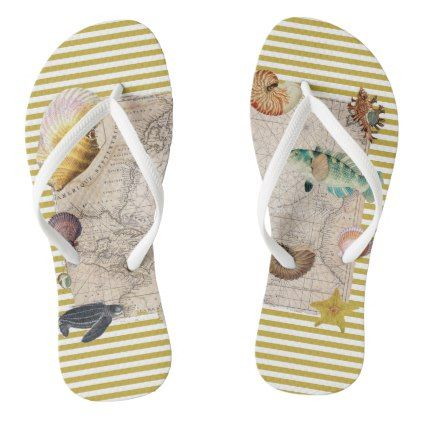 #Marine Treasures Mustard Yellow Stripes Flip Flops - #womens #shoes #womensshoes #custom #cool