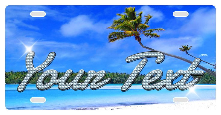 Custom Vanity Vehicle Car License Plate Full Color Tropical Beach Glitter Design - Personalized With Your Text