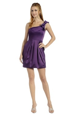 One Shoulder Purples Short Elastic Woven Satin #Homecoming #Dress Style Code: 05983 $99